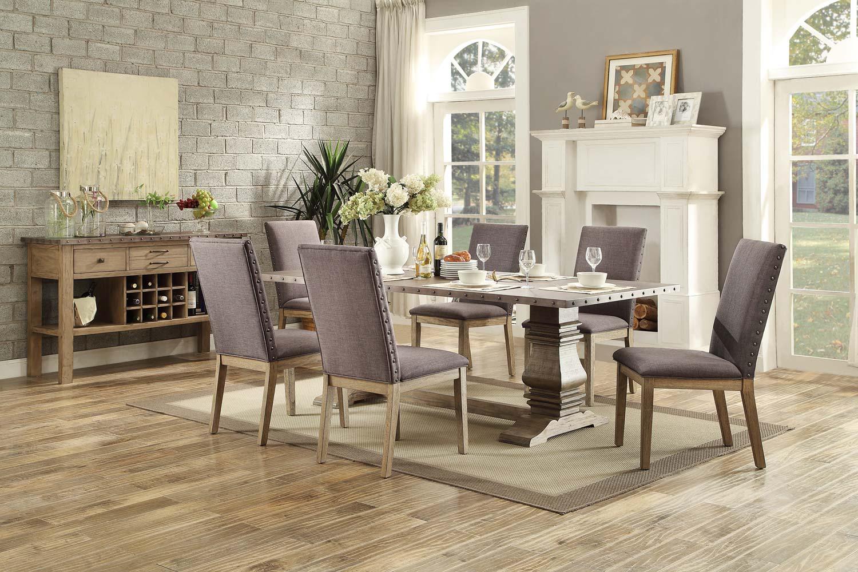 Homelegance Anna Claire Dining Set S1 - Driftwood/Zinc