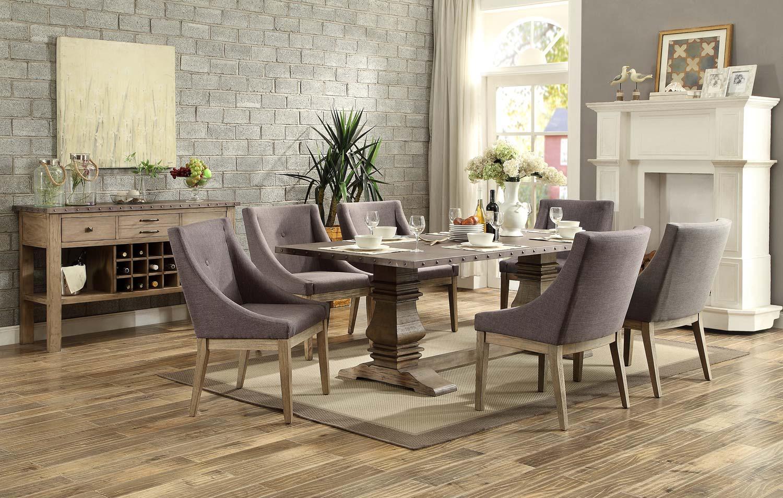 Homelegance Anna Claire Dining Set S3 - Driftwood/Zinc