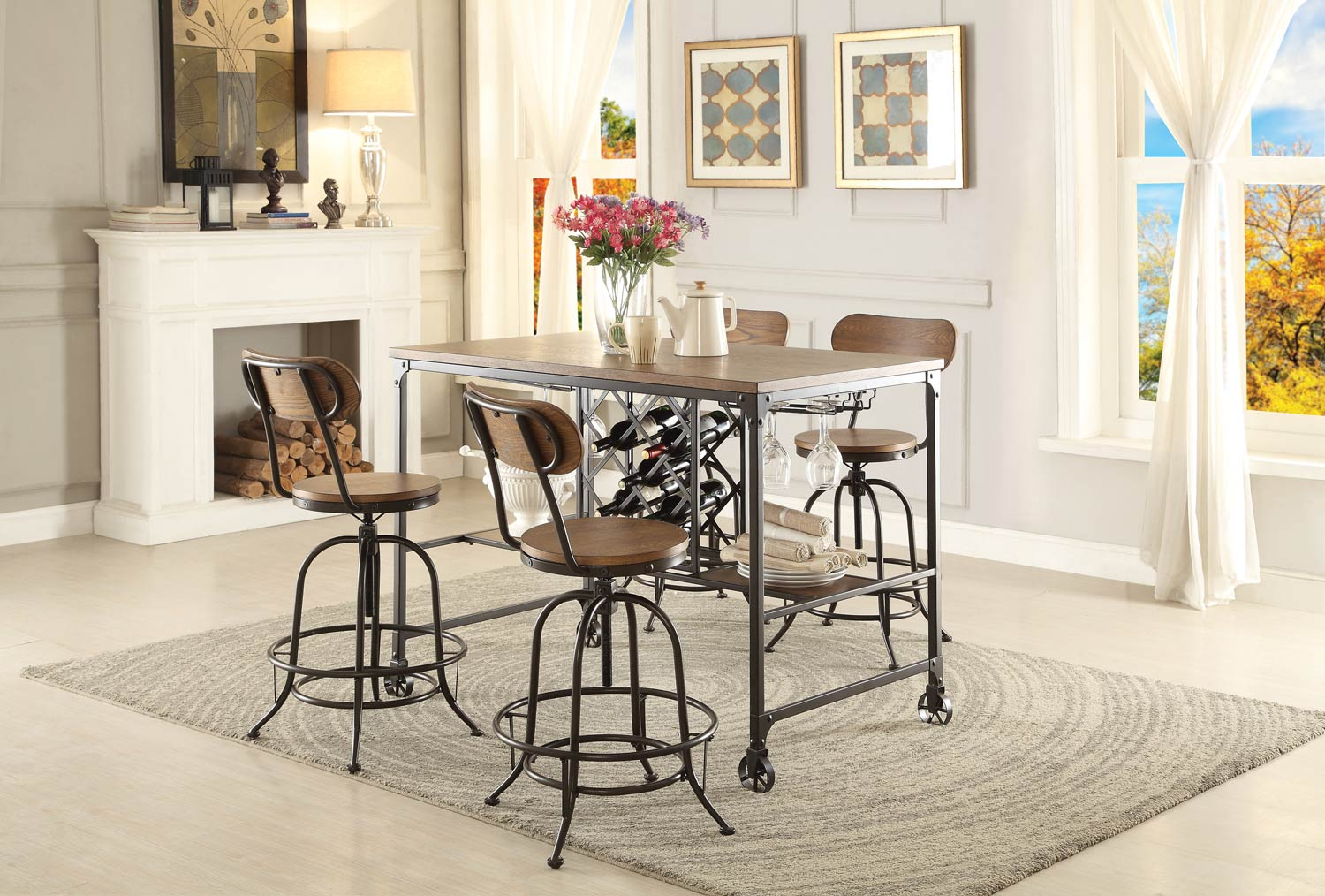 Homelegance Angstrom Counter Height Dining Set with Wine Rack A