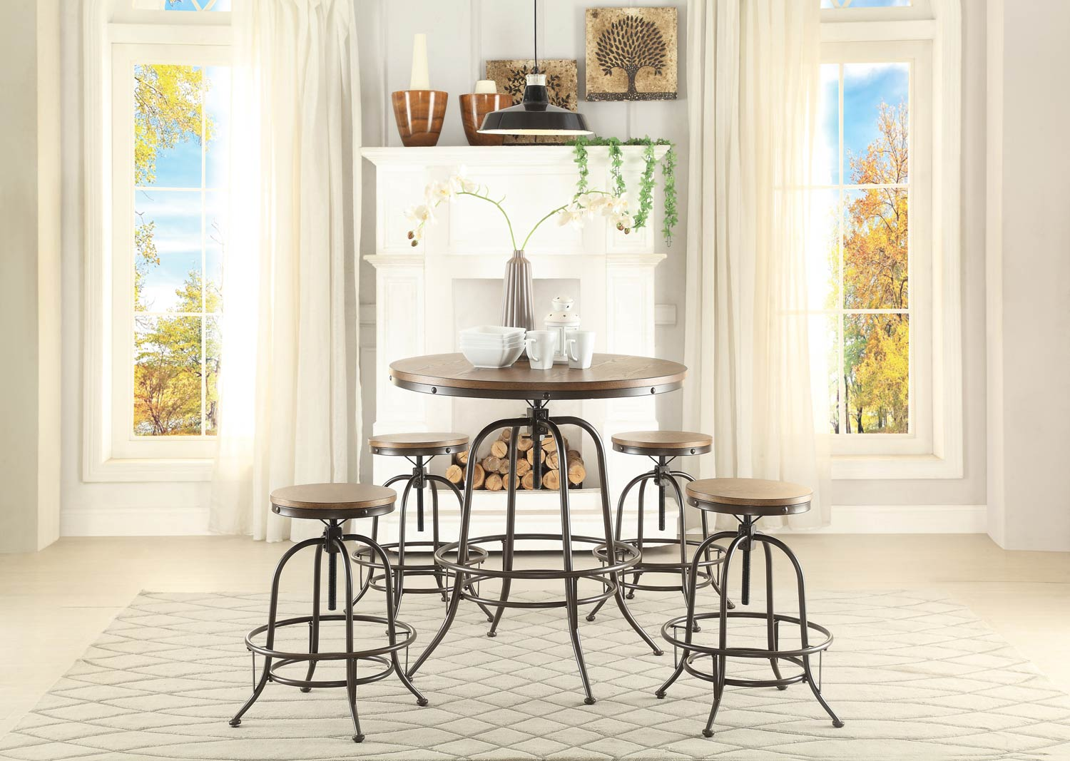 Homelegance Angstrom Round Counter Height Dining Set - Adjustable Height B