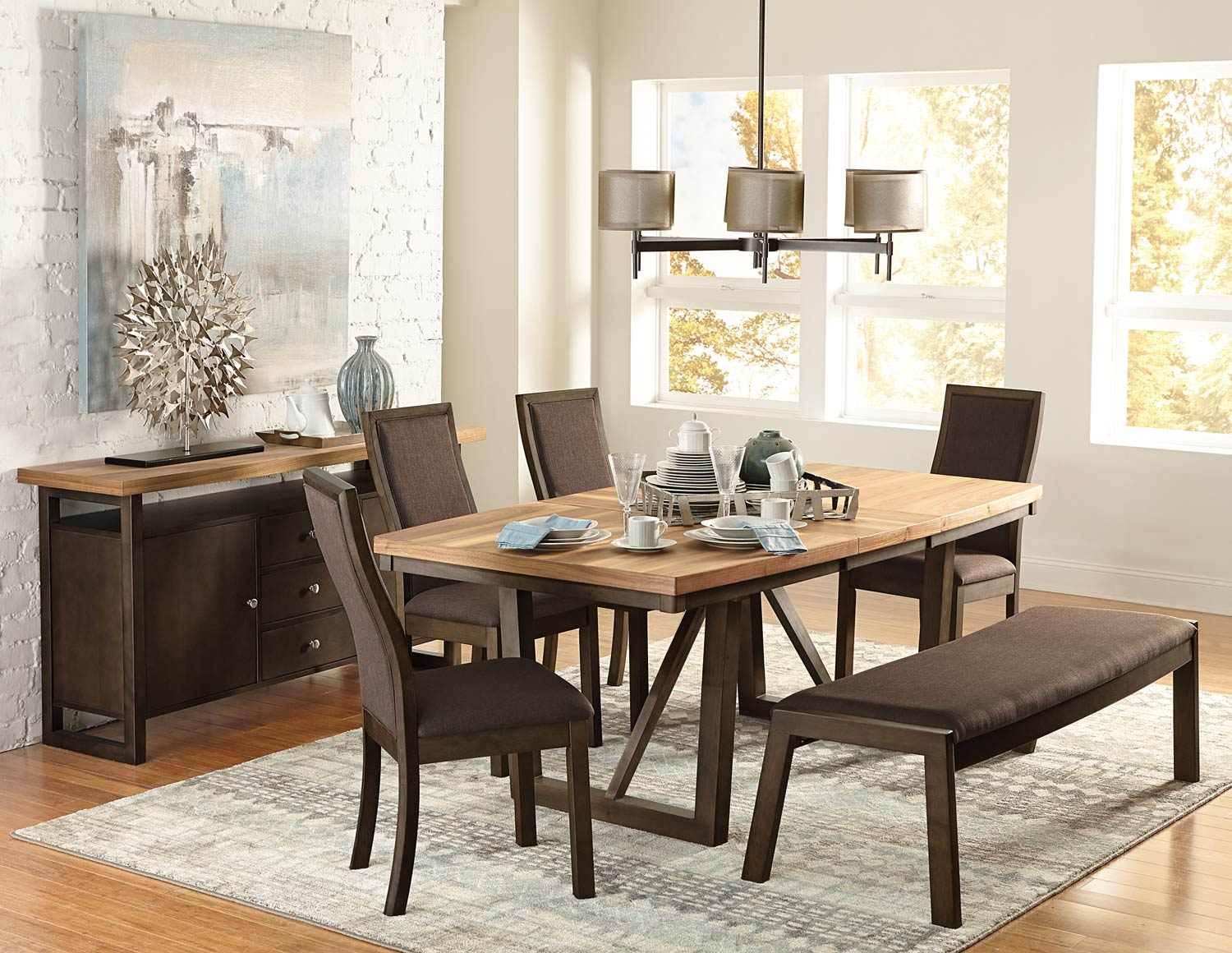Homelegance Compson Dining Set - Natural/Walnut