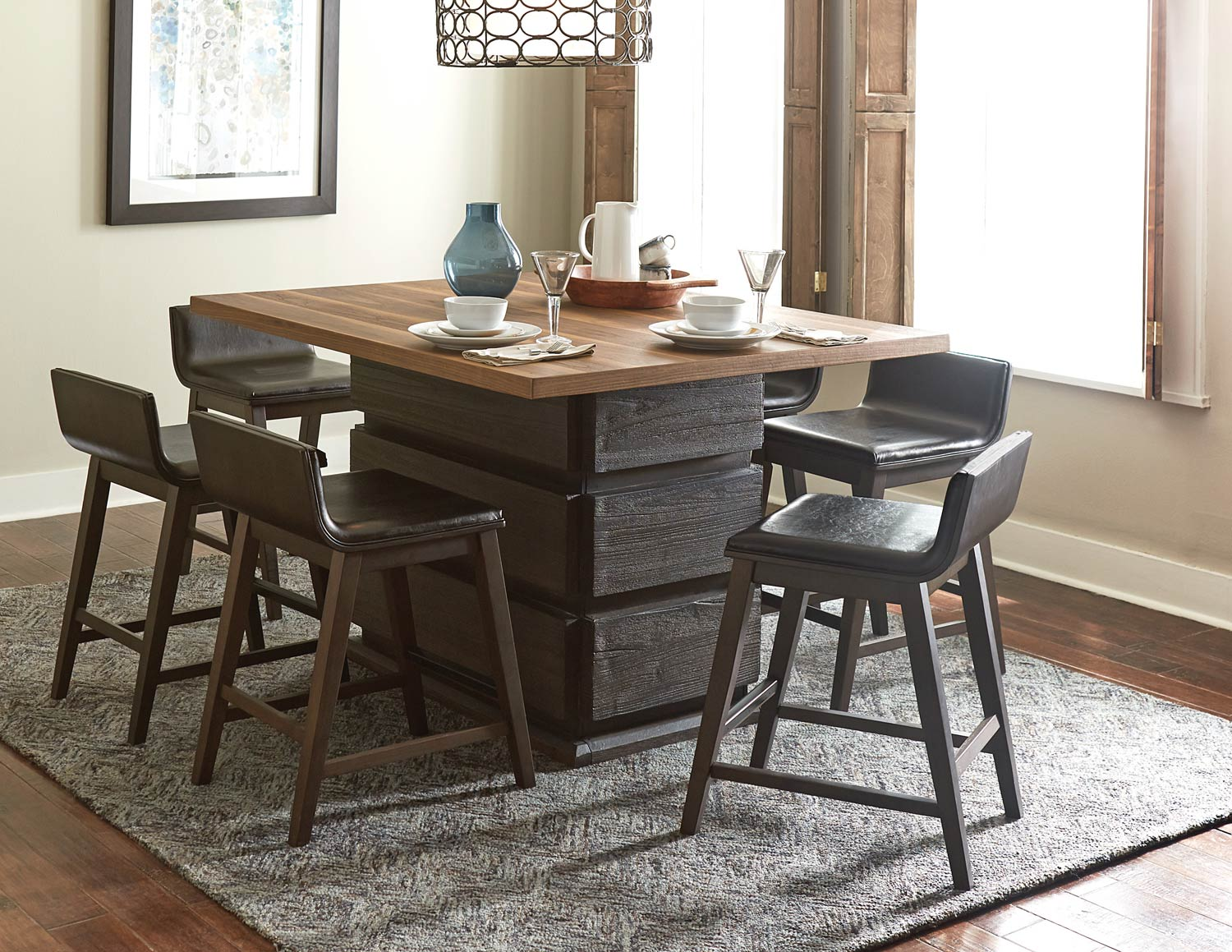 Homelegance Rochelle Counter Height Dining Set - Dark Brown/Natural