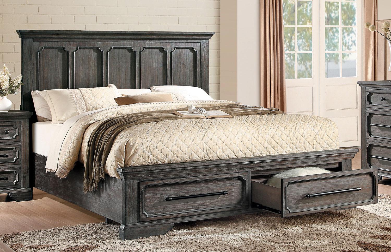 Homelegance toulon storage platform bed rustic acacia for Rustic elegance furniture