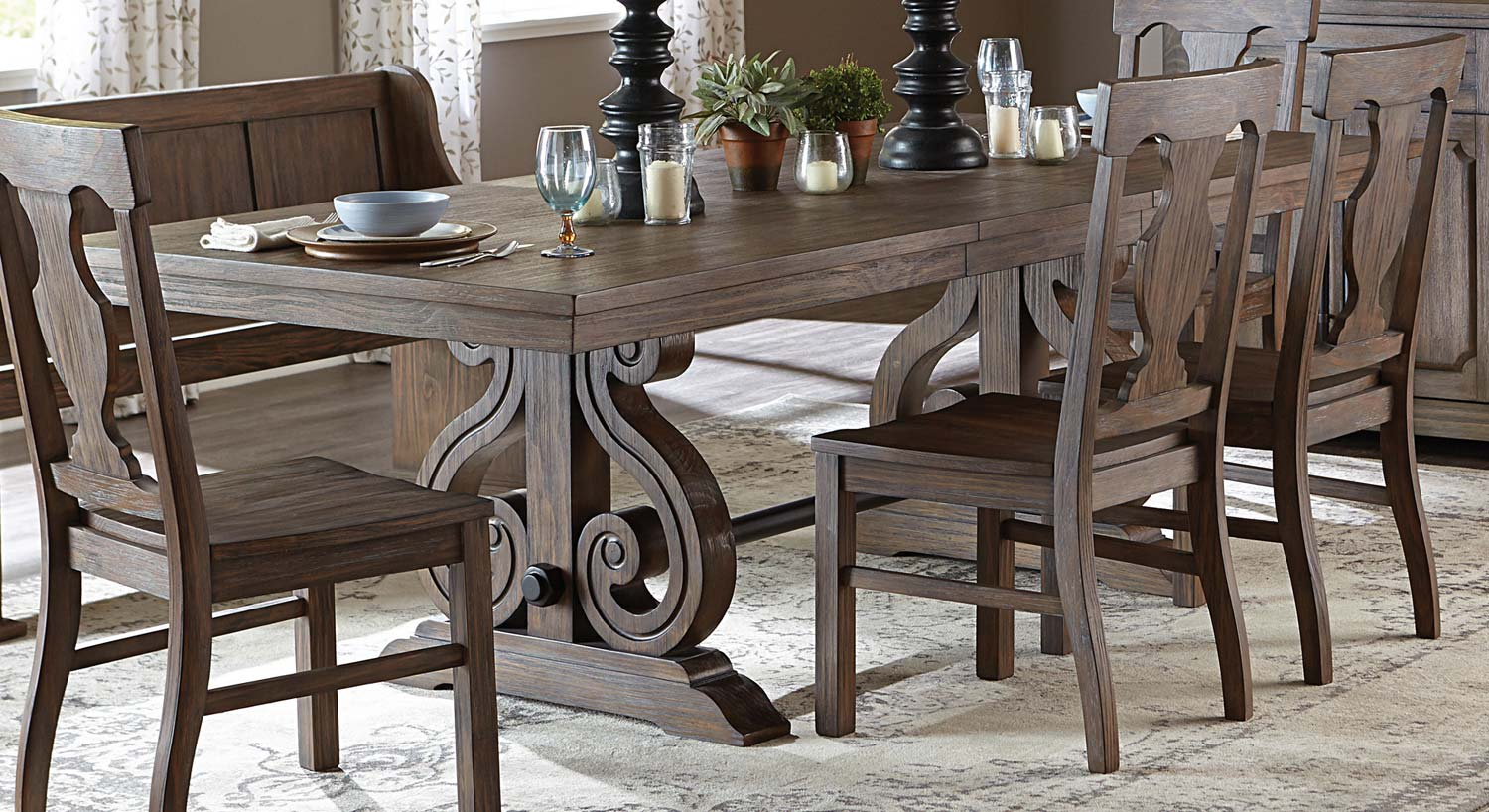 Homelegance Toulon Trestle Dining Table Wire Brushed