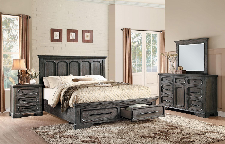 Homelegance toulon storage platform bedroom set rustic for Bedroom furniture for less