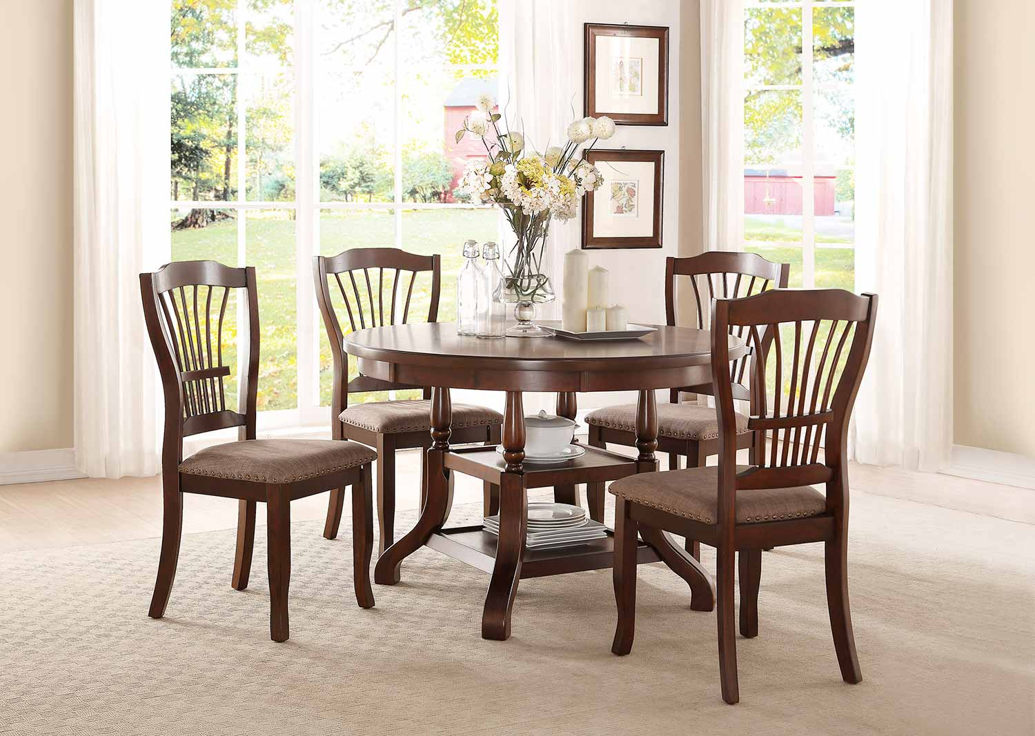 Homelegance Frankford Round Dining Set - Brown
