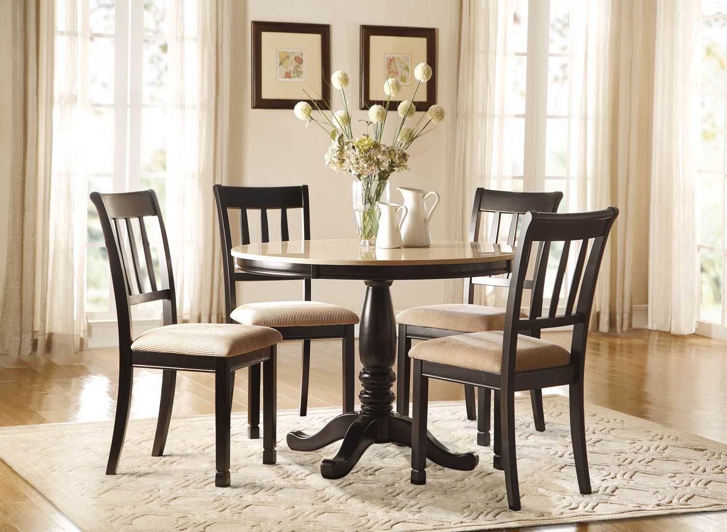 Homelegance Dearborn Round Dinng Set - Faux Marble Top - Black/Cream