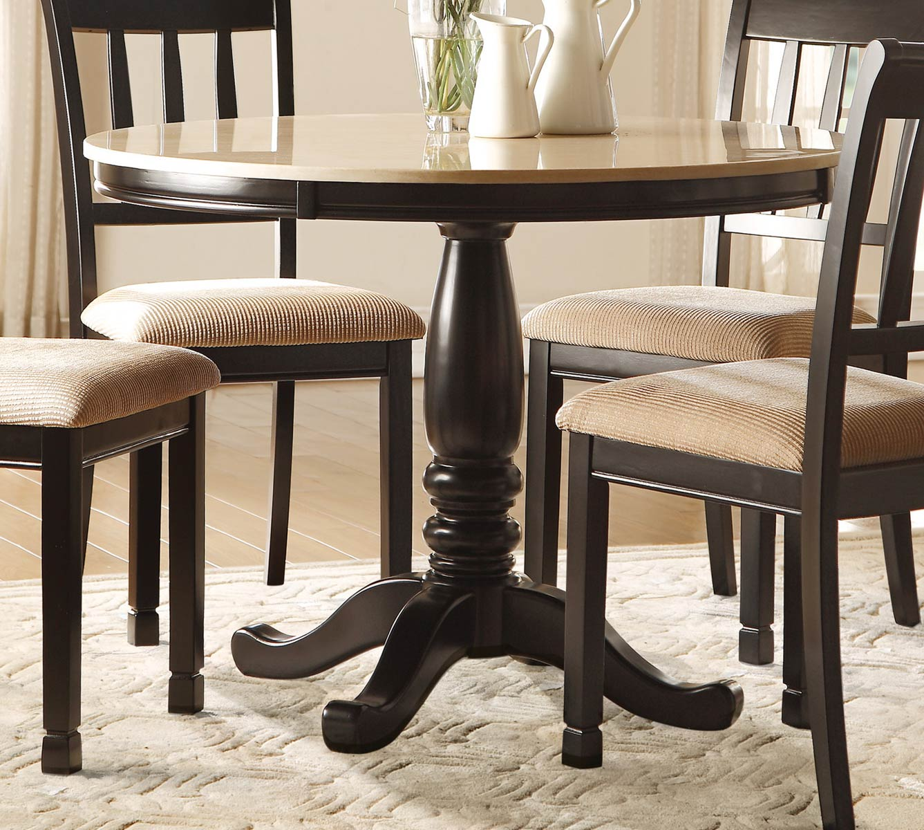 Homelegance Dearborn Round Dining Table - Faux Marble Top - Black/Cream