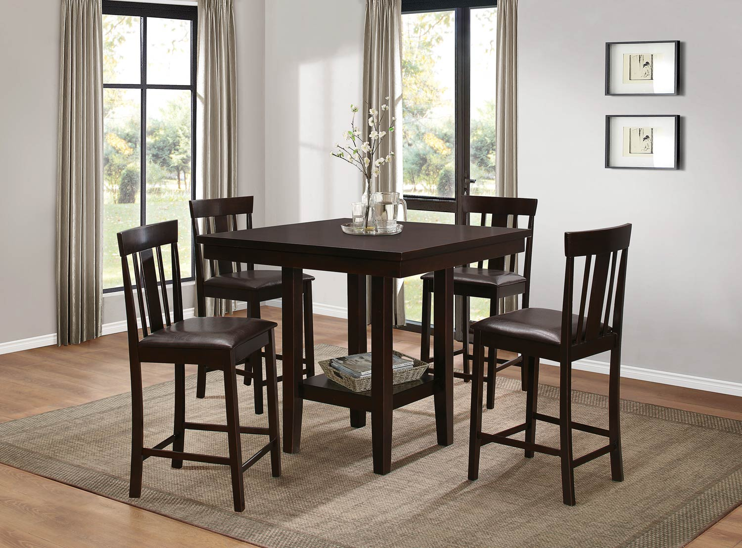Homelegance Diego Counter Height Dining Set - Espresso
