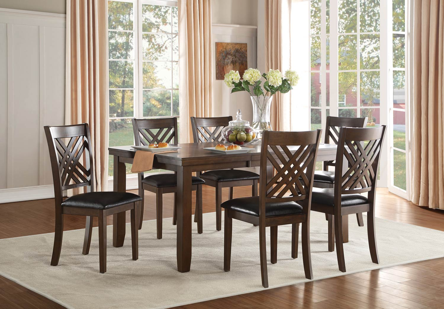 Homelegance Sandia Dining Set - Brown Cherry
