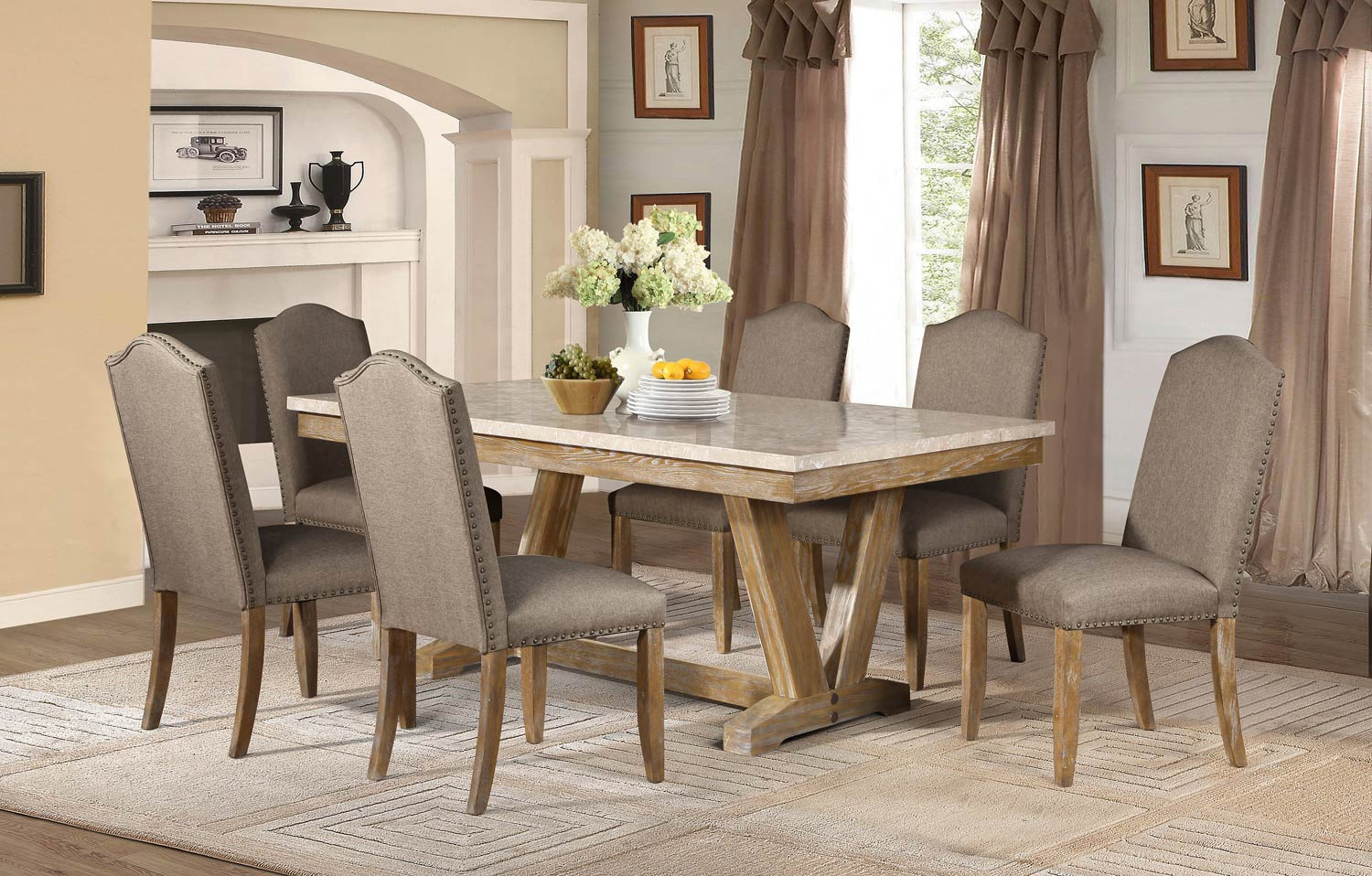 Homelegance Jemez Dining Set - Faux Marble Top - Weathered Wood