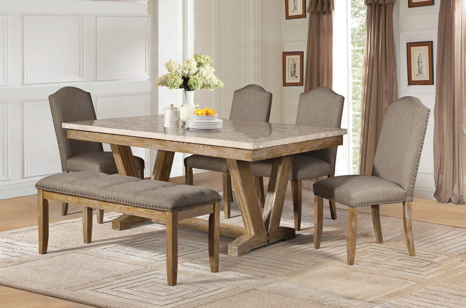 Homelegance Jemez Dining Set Faux Marble Top Weathered