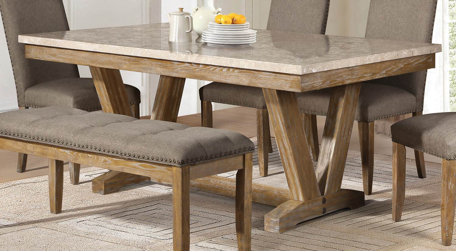 Homelegance Jemez Dining Table - Faux Marble Top - Weathered Wood