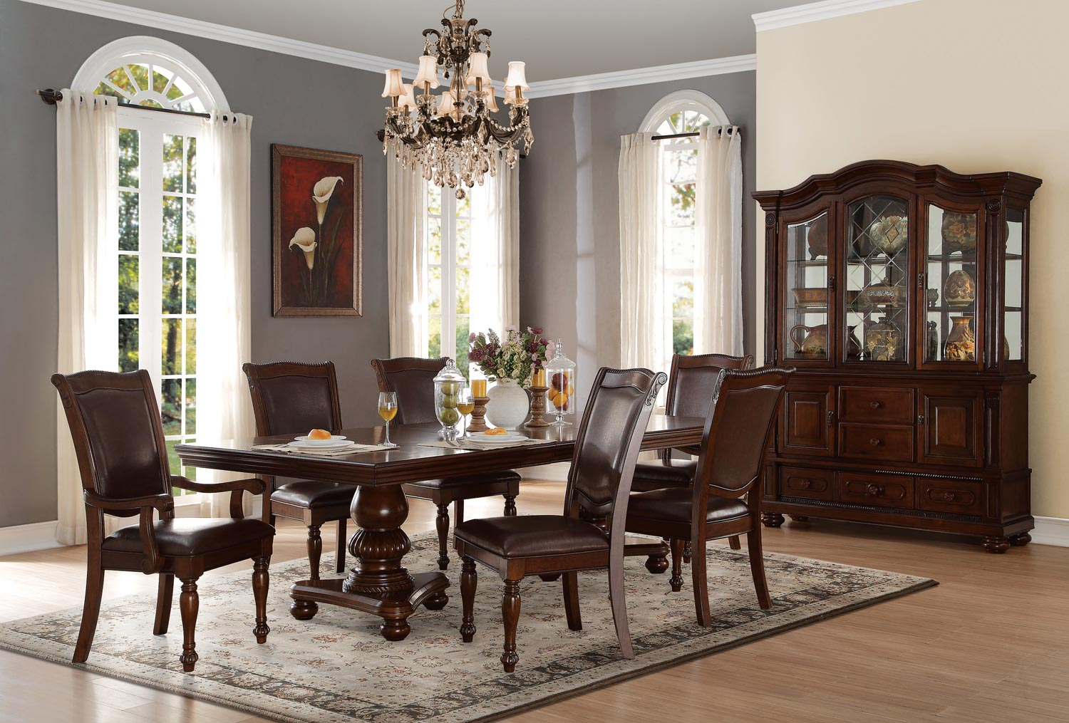 Homelegance Lordsburg Double Pedestal Dining Set - Brown Cherry