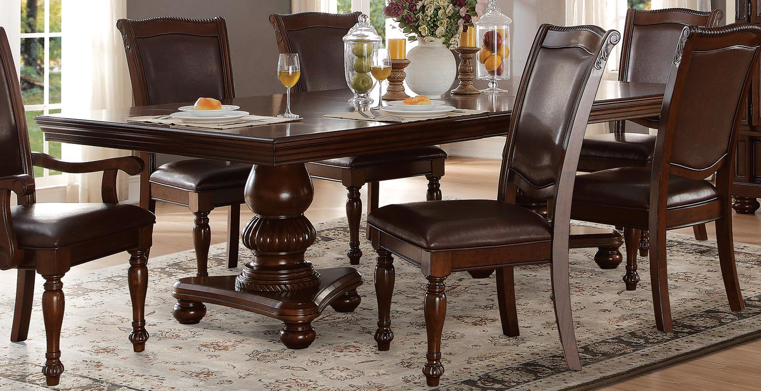 Homelegance Lordsburg Double Pedestal Dining Table Brown