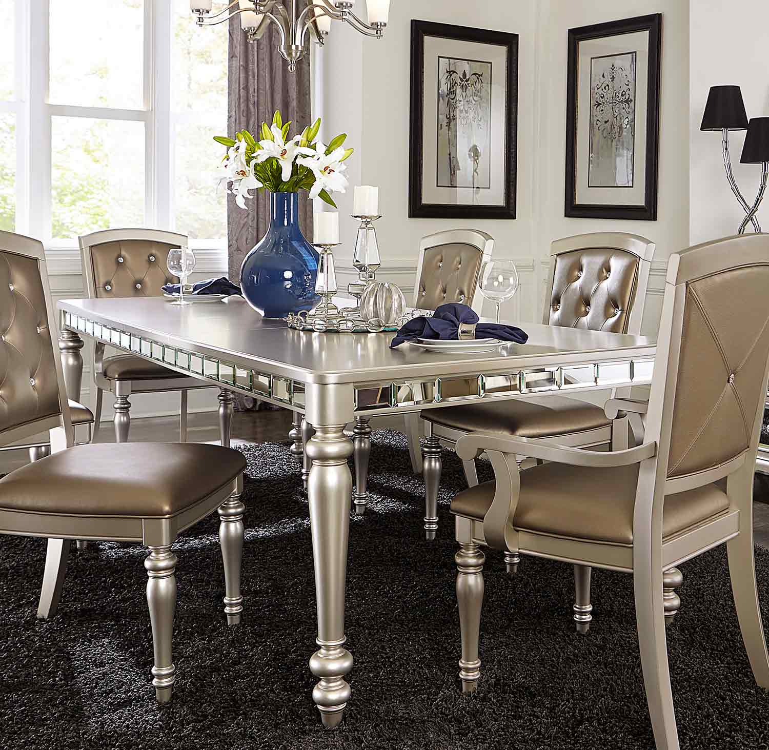 Homelegance Orsina Dining Table Silver 5477N 96 at Homelement