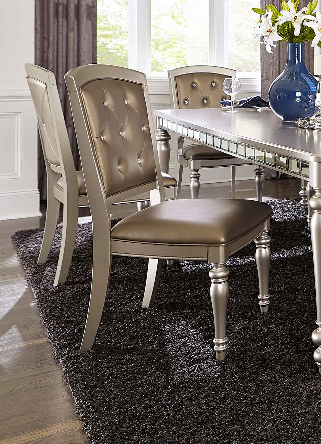 Homelegance Orsina Side Chair - Silver