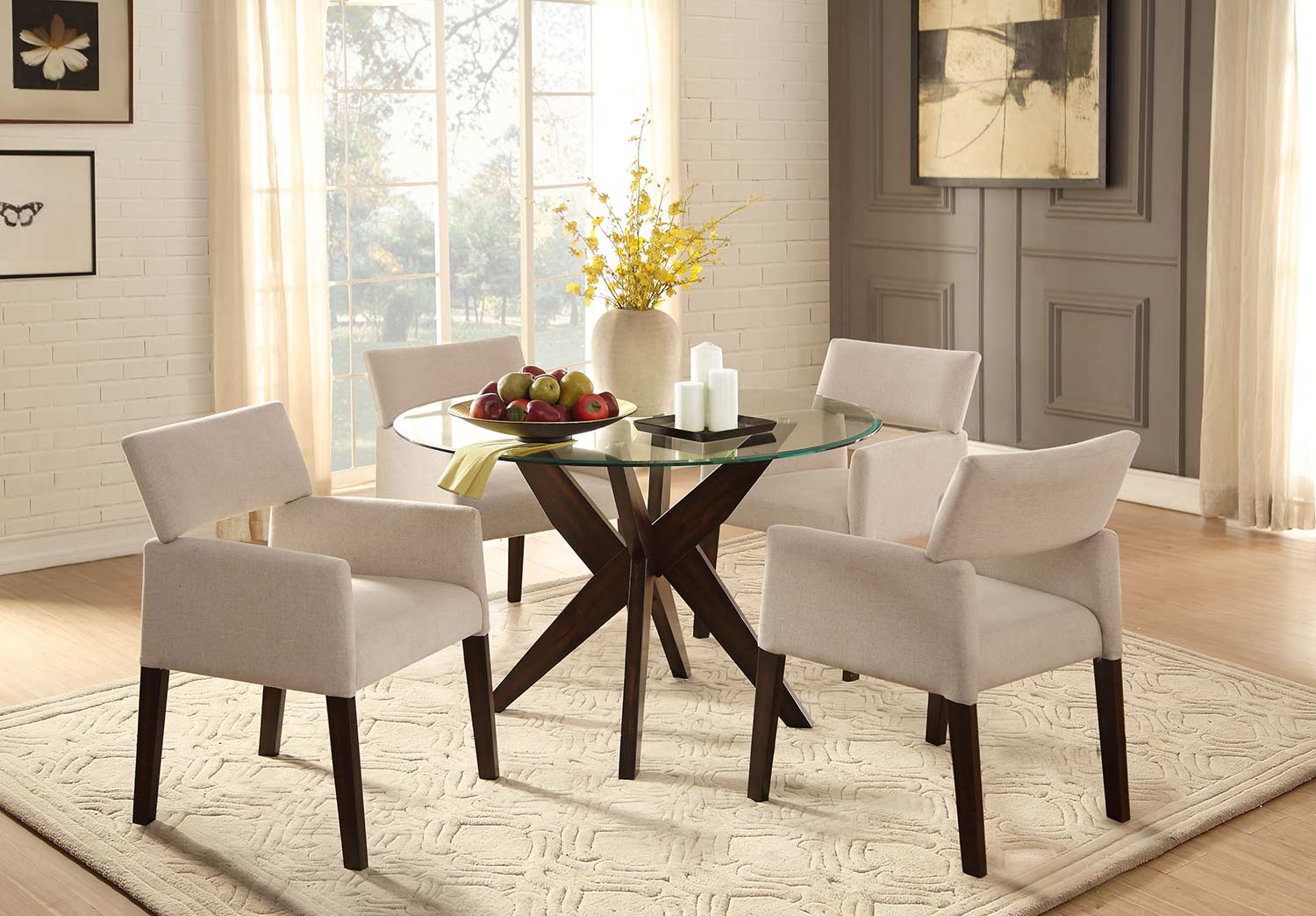Homelegance Massey Round Glass Top Dining Set - Espresso