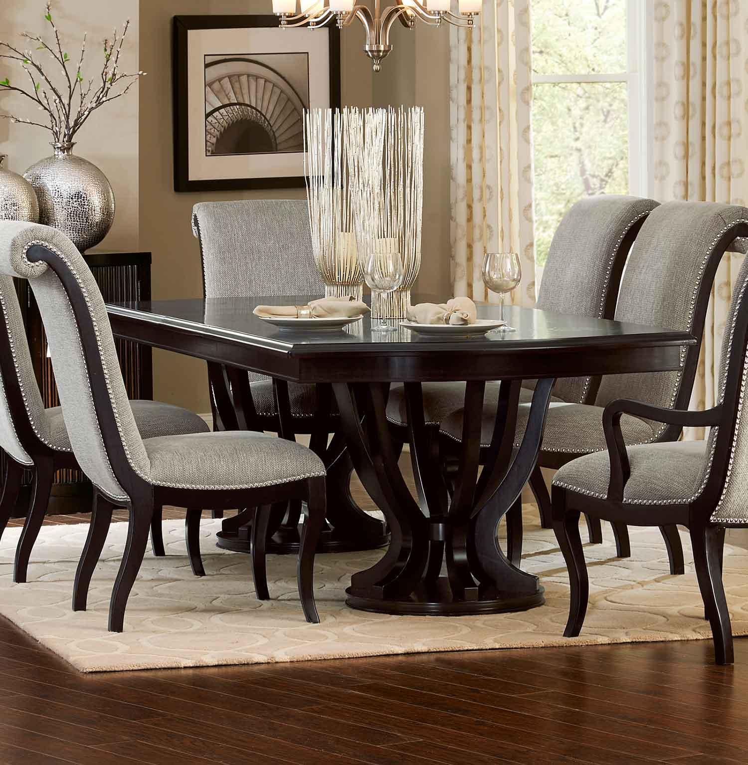 Homelegance Savion Double Pedestal Dining Table with Leaf - Espresso