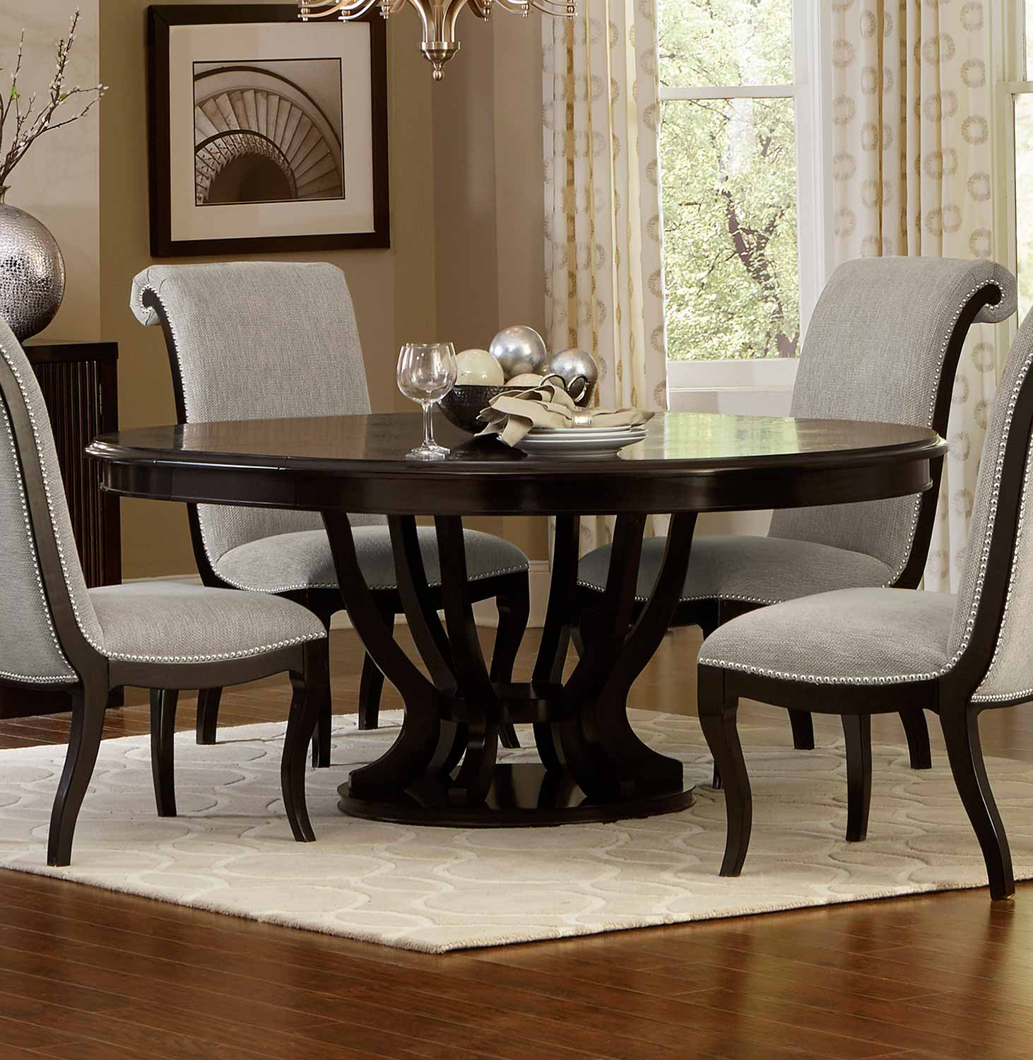 Homelegance Savion Round Oval Dining Table With Leaf Espresso 5494