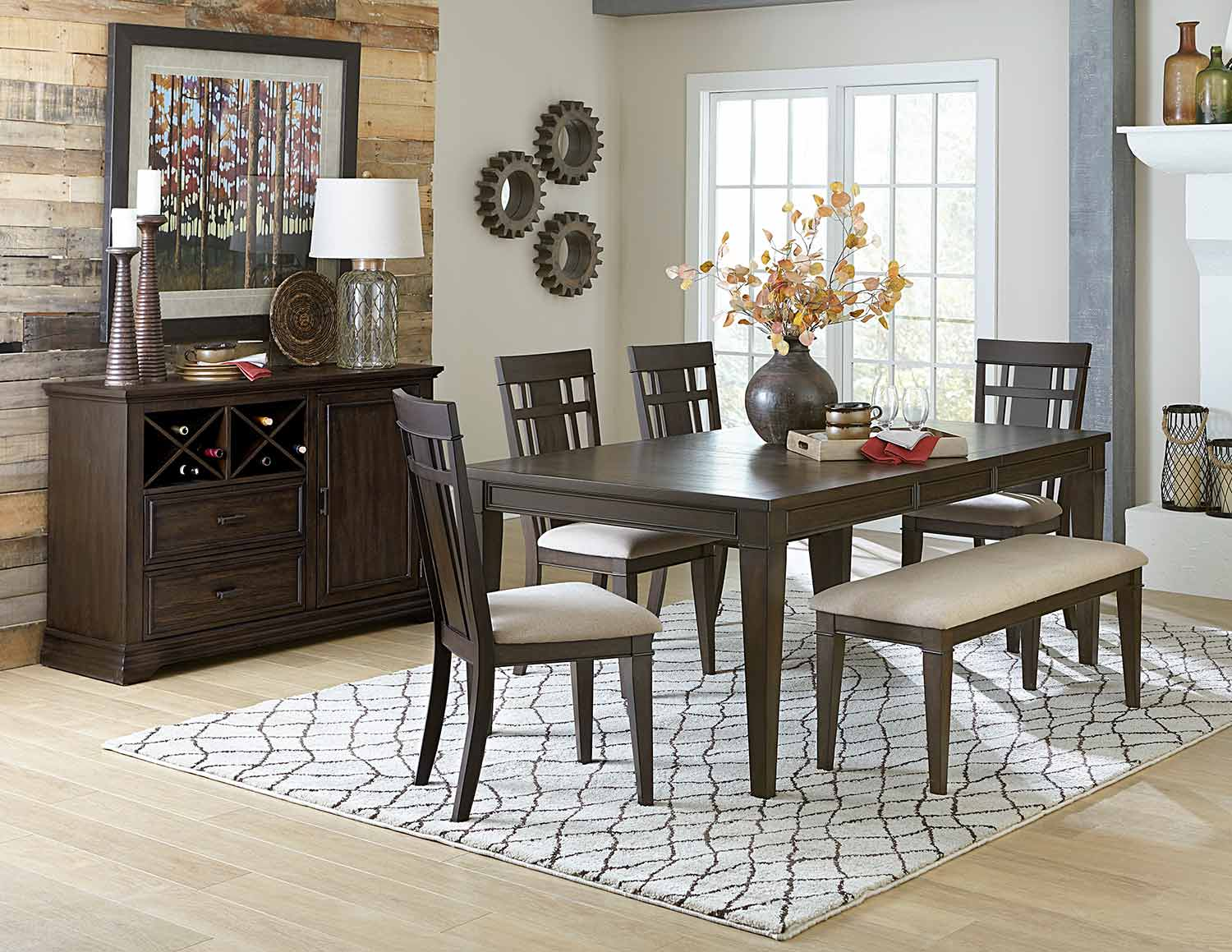 Homelegance Makah Rectangular Dining Set - Dark Brown