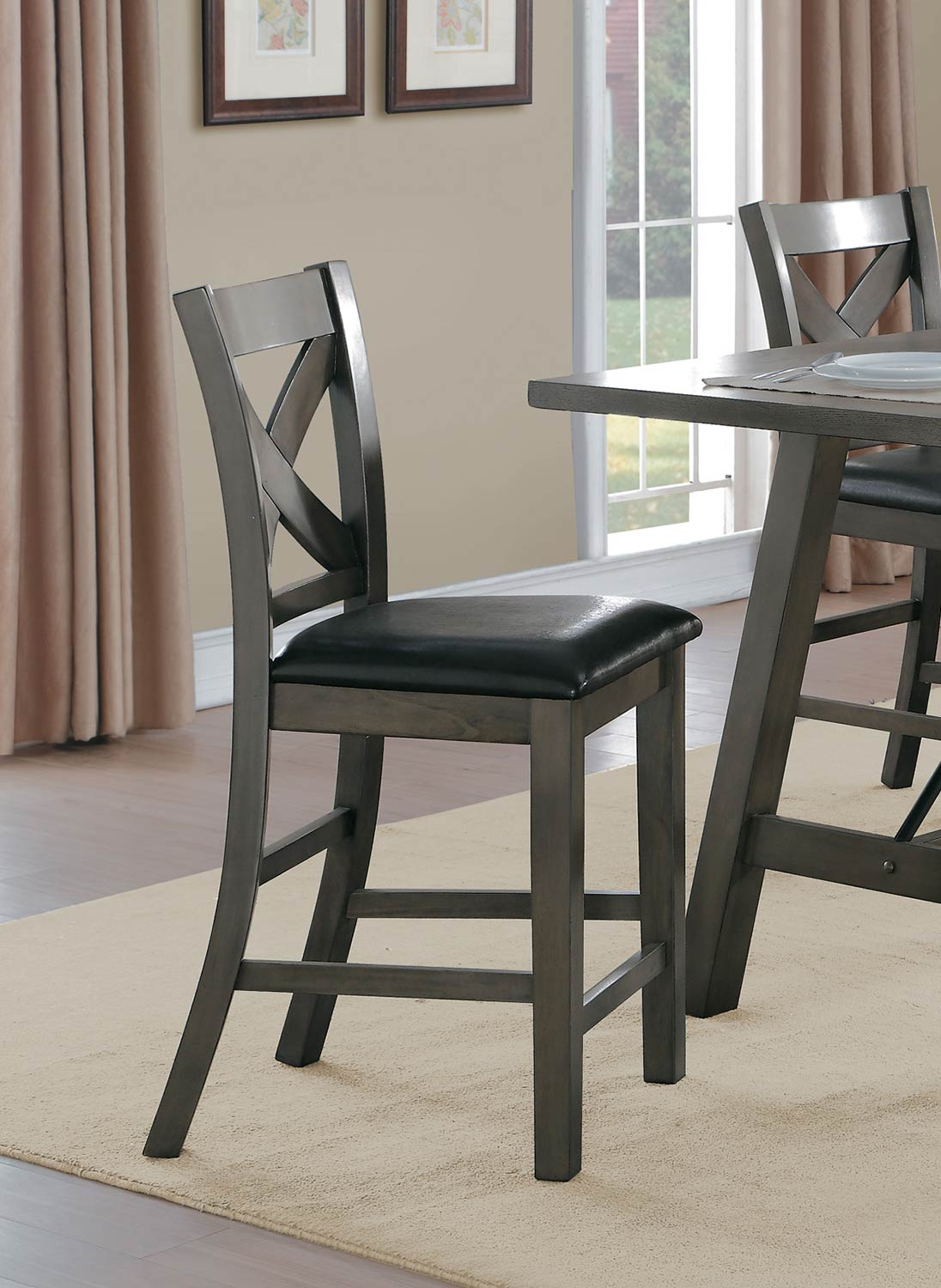 Homelegance Seaford X-Back Counter Height Chair - Gray tone