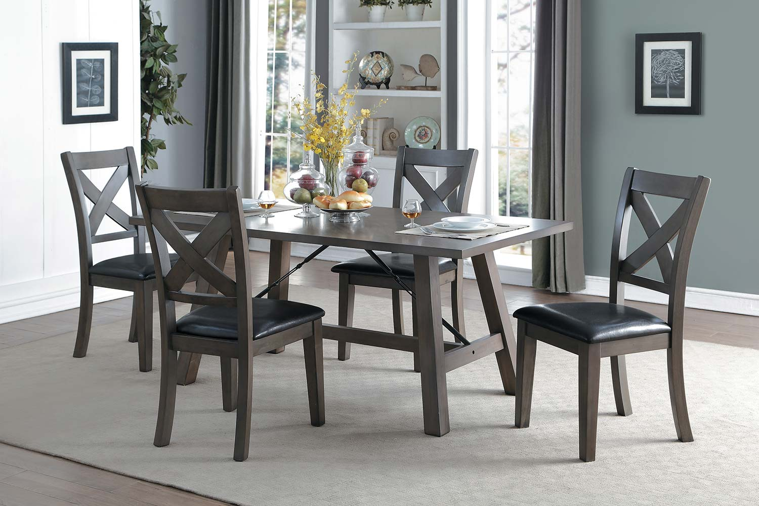 Homelegance Seaford Rectangular Dining Set - Gray tone