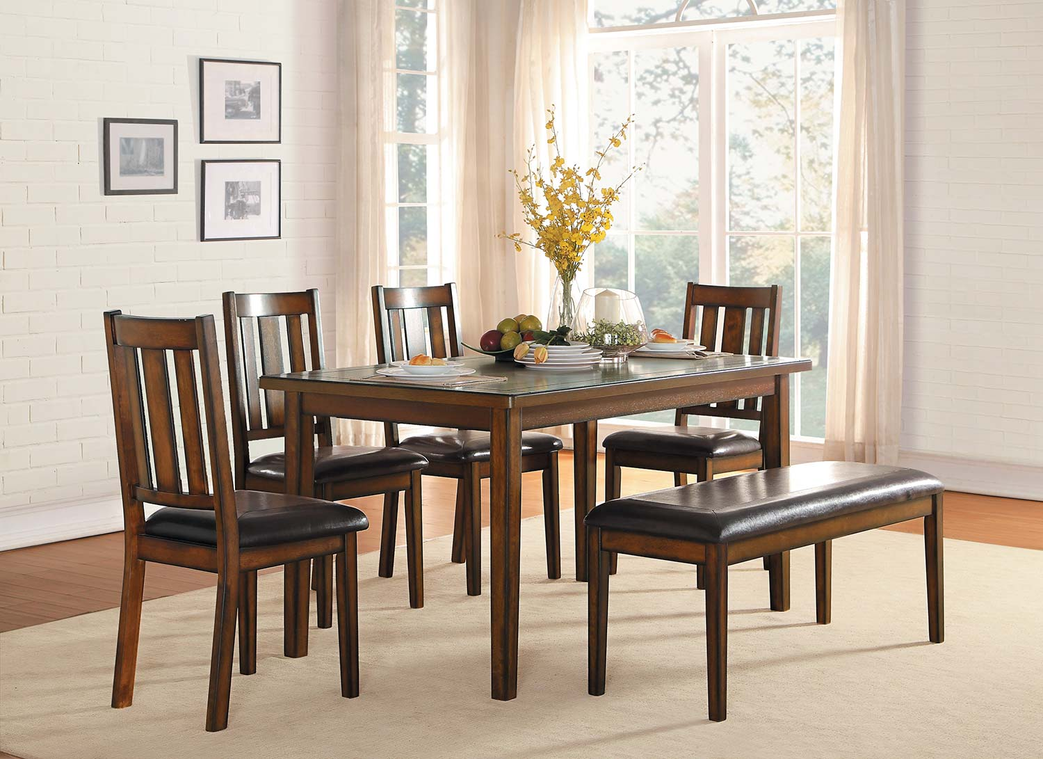 Homelegance Delmar 6- Piece Pack Dinette Set - Burnish Finish