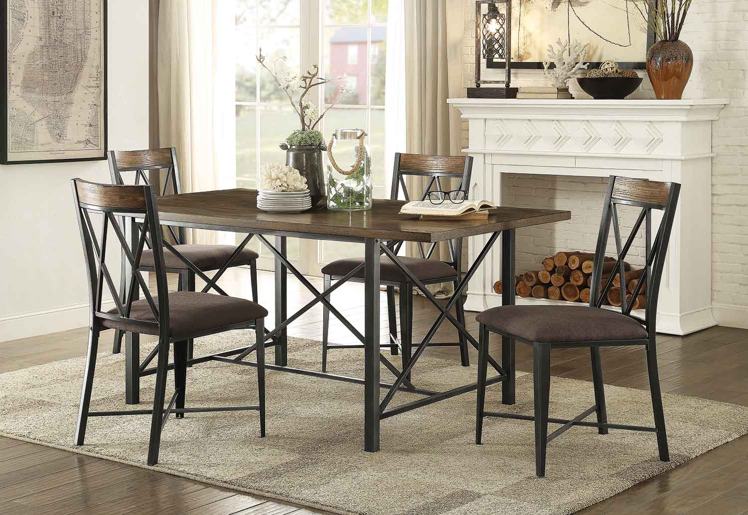 Homelegance Sage Rectangular Dining Set - Burnish Finish