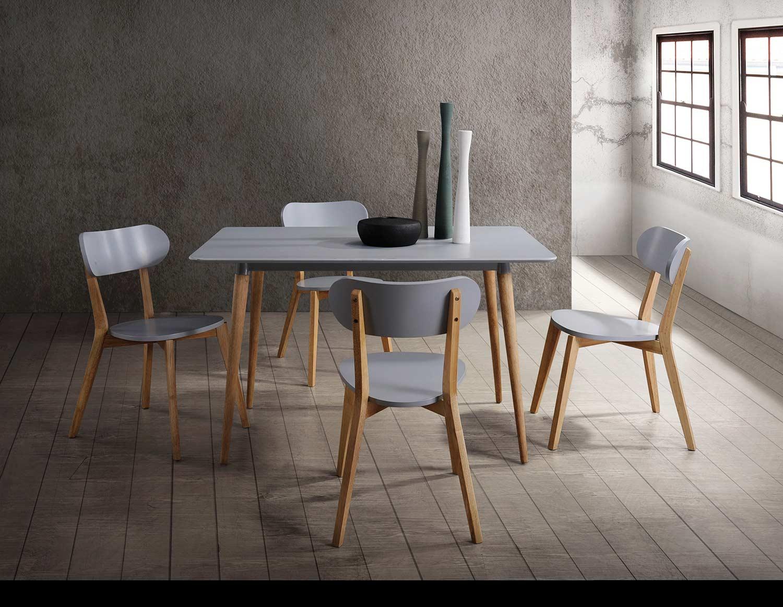 Homelegance Orpheus Rectangular Dining Set - Natural Pine Finish/Gray