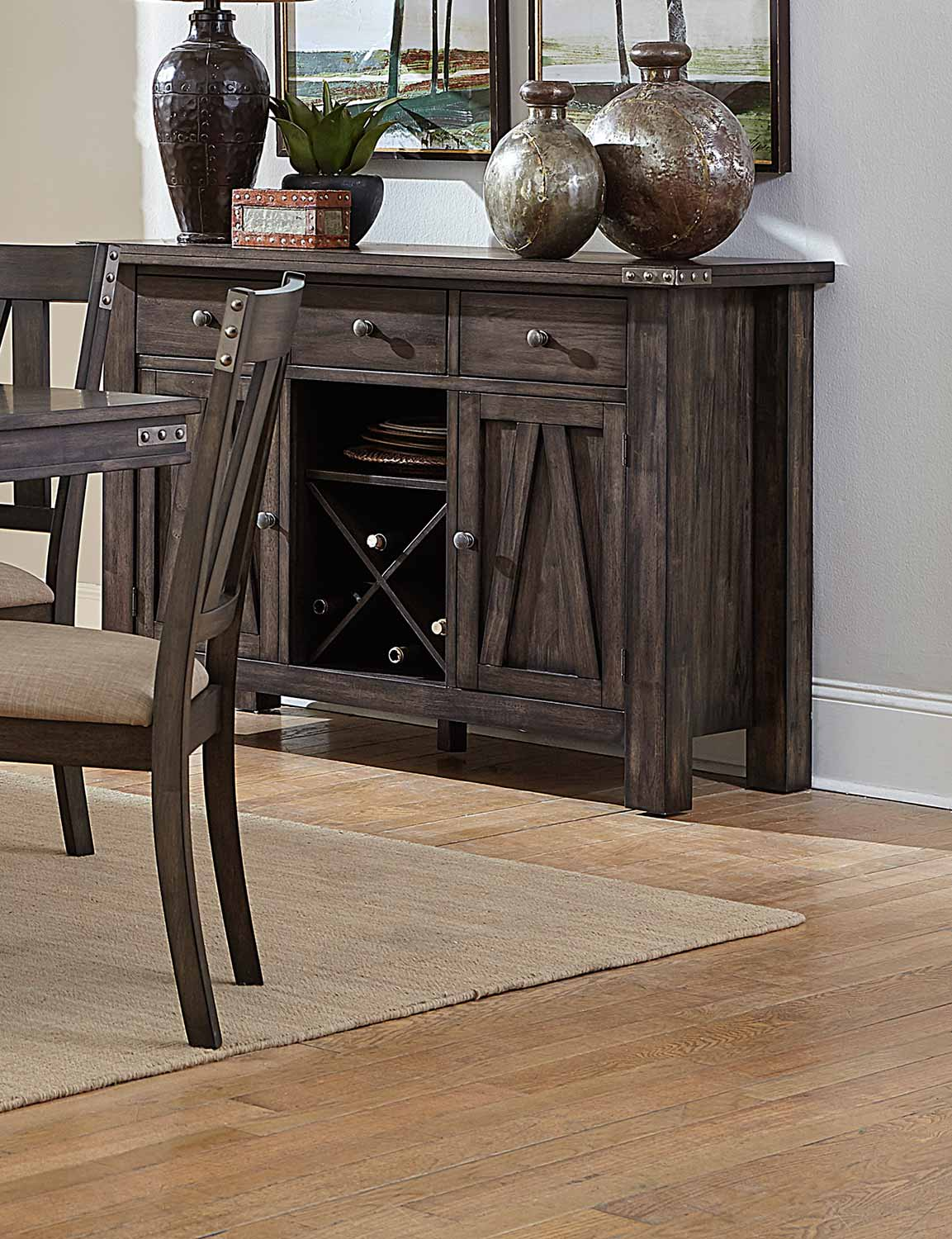 Homelegance Mattawa Server - Brown/Hints of Gray Undertone