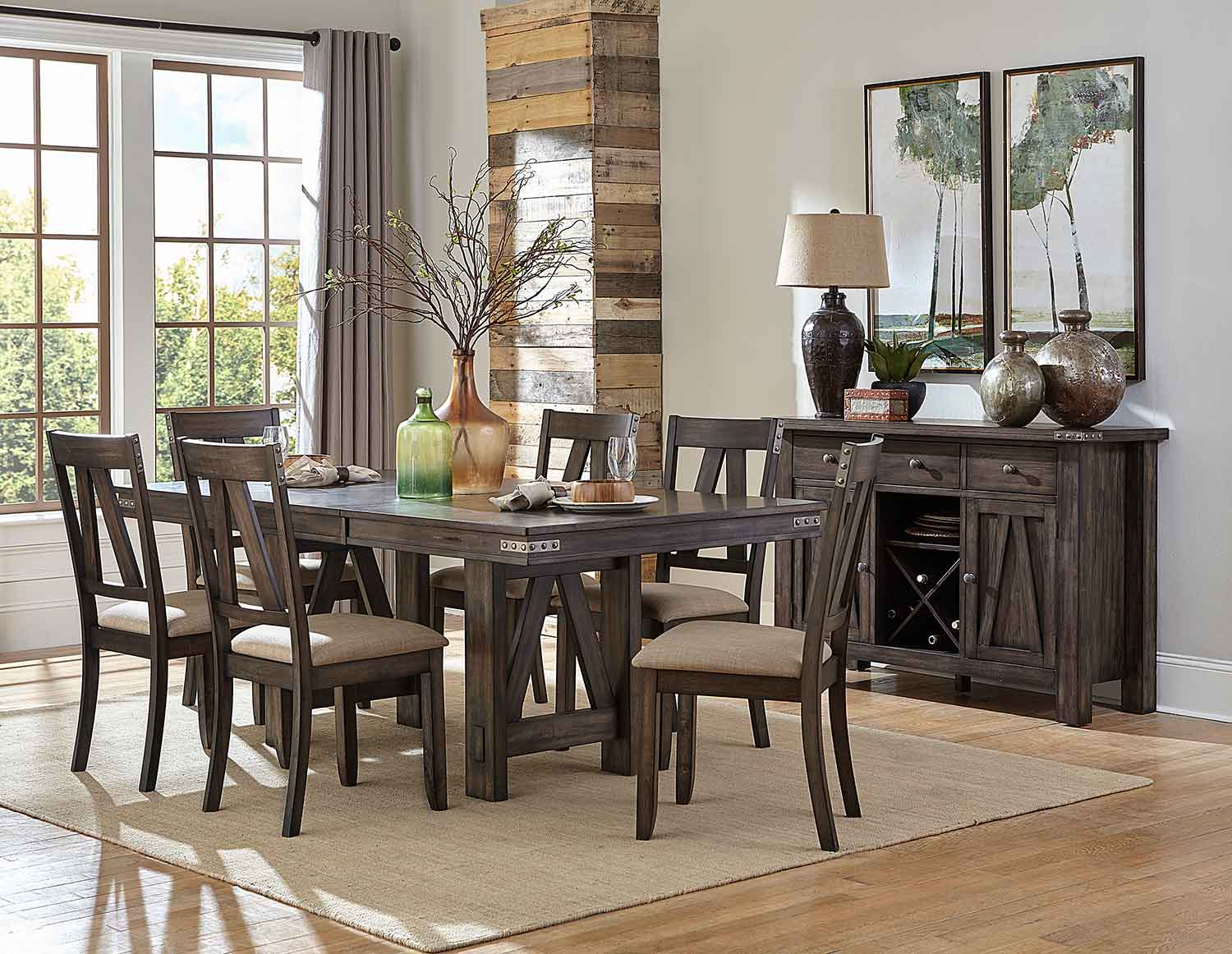 Homelegance Mattawa Rectangular Dining Set - Brown/Hints of Gray Undertone