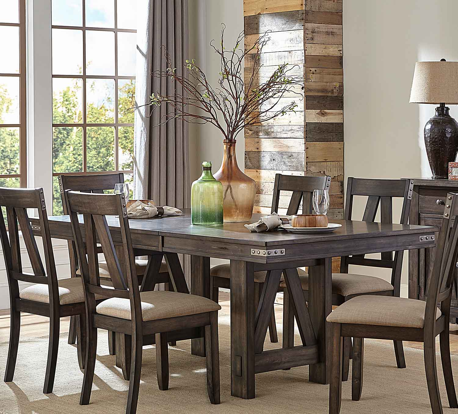 Homelegance Mattawa Rectangular Dining Table with Butterfly Leaf - Brown/Hints of Gray Undertone