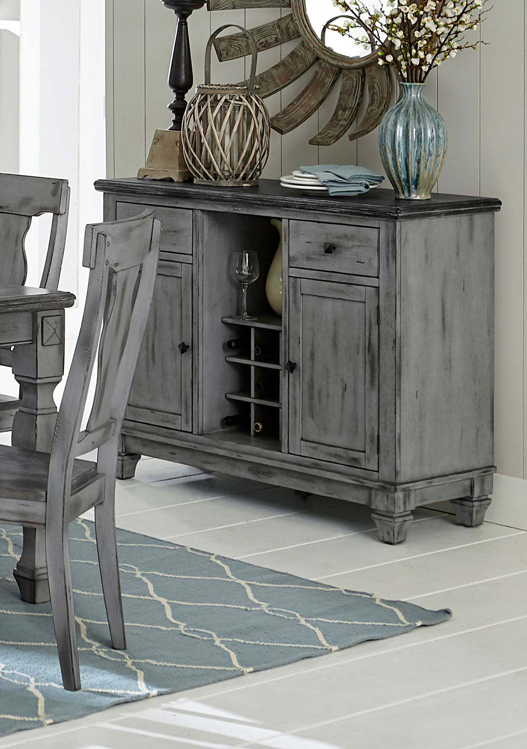 Homelegance Fulbright Server - Weathered Gray Rub Through Finish
