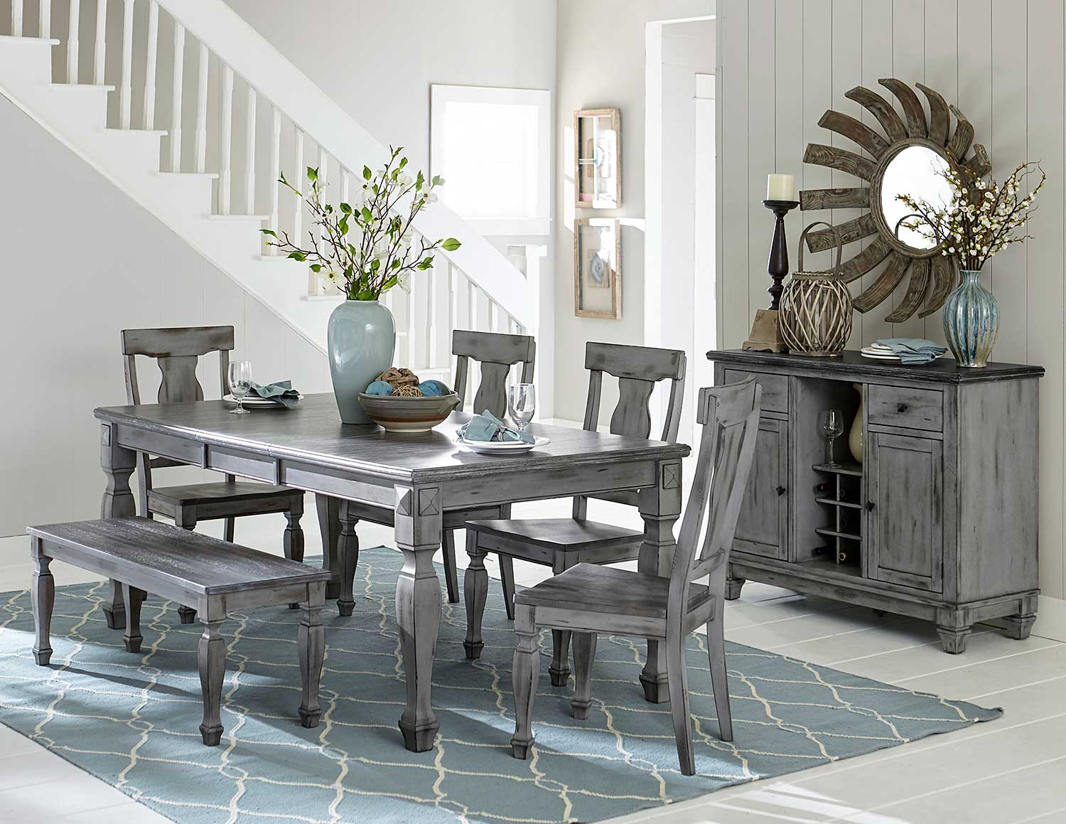 Homelegance Fulbright Rectangular Dining Set - Weathered Gray Rub Through Finish