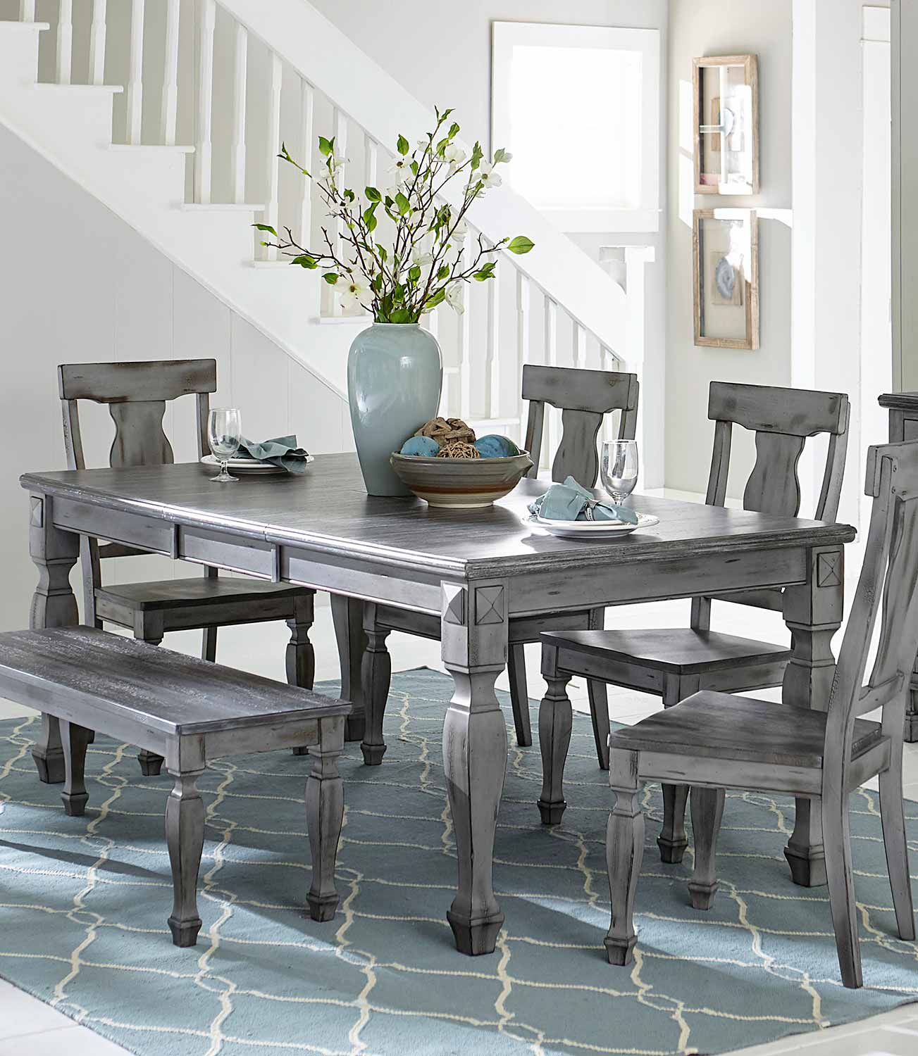 Picture of: Homelegance Fulbright Rectangular Dining Table With Butterfly Leaf Weathered Gray Rub Through Finish 5520 78 At Homelement Com