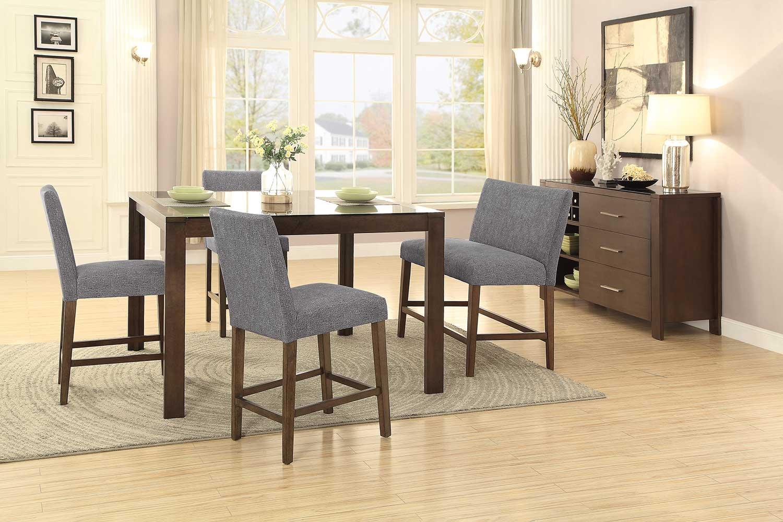 Homelegance Fielding Rectangular Counter Height Dining Set - Brown
