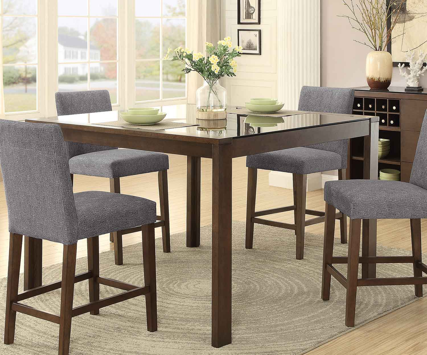 Counter Height Glass Dining Table : ... Counter Height Dining Table with Black Glass Insert - Brown 54 ? 54