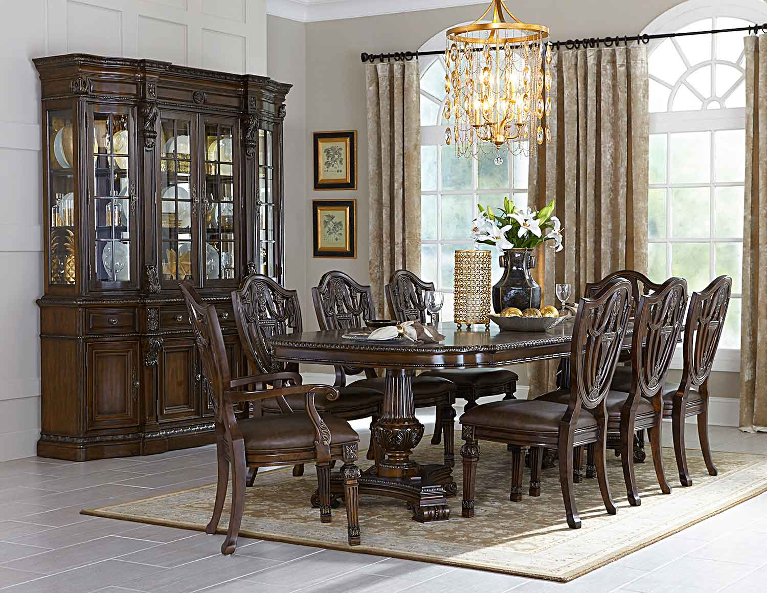 Homelegance Chilton Double Pedestal Dining Set - Cherry