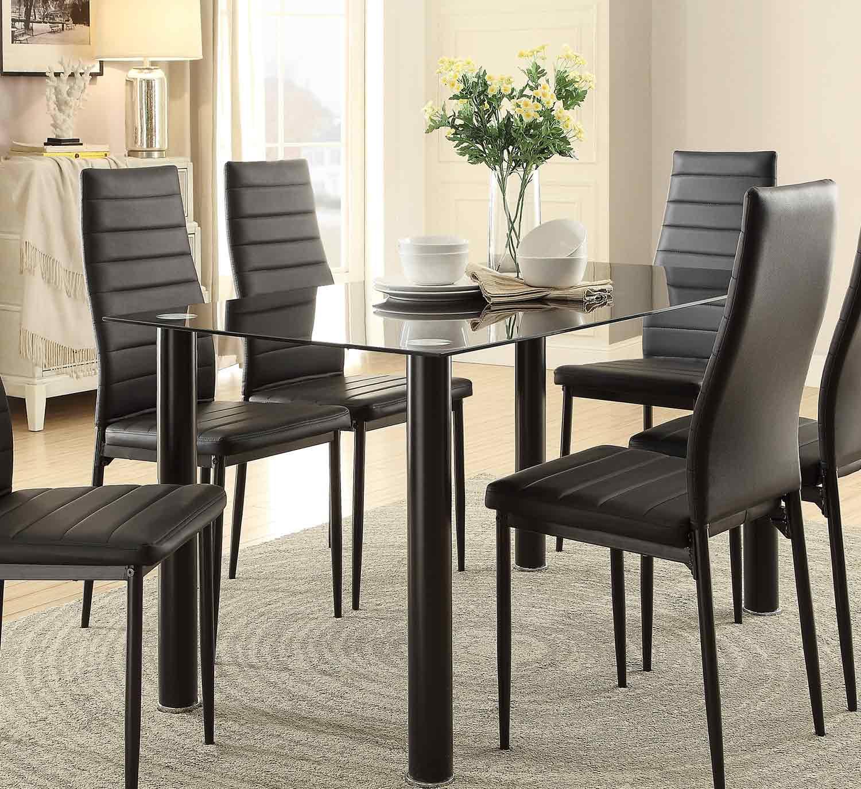 Homelegance florian rectangular black glass table top - Black glass top dining table ...