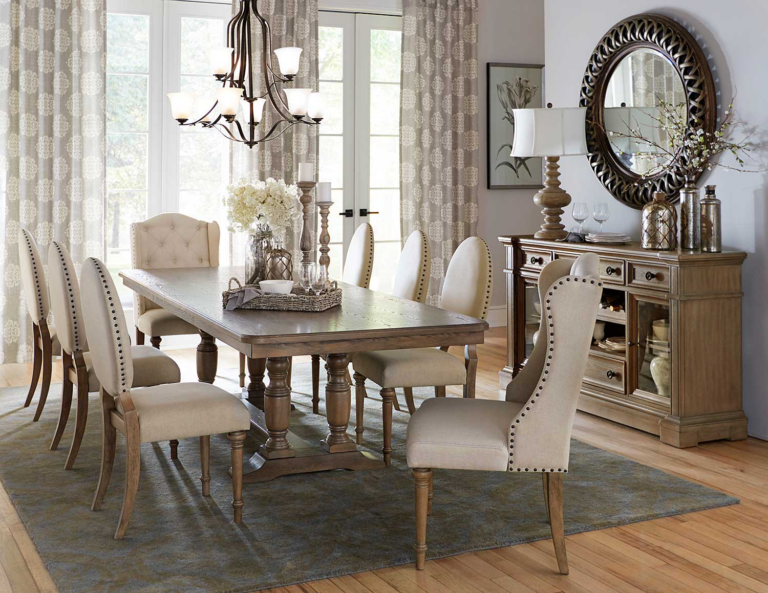 Homelegance Avignon Dining Set - Natural Taupe - Oak veneer