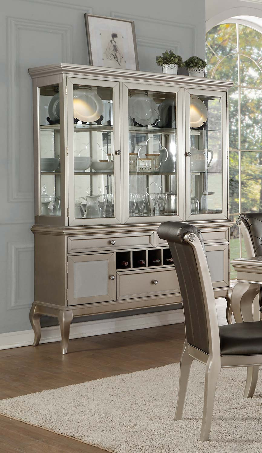 Homelegance Crawford China Cabinet - Silver