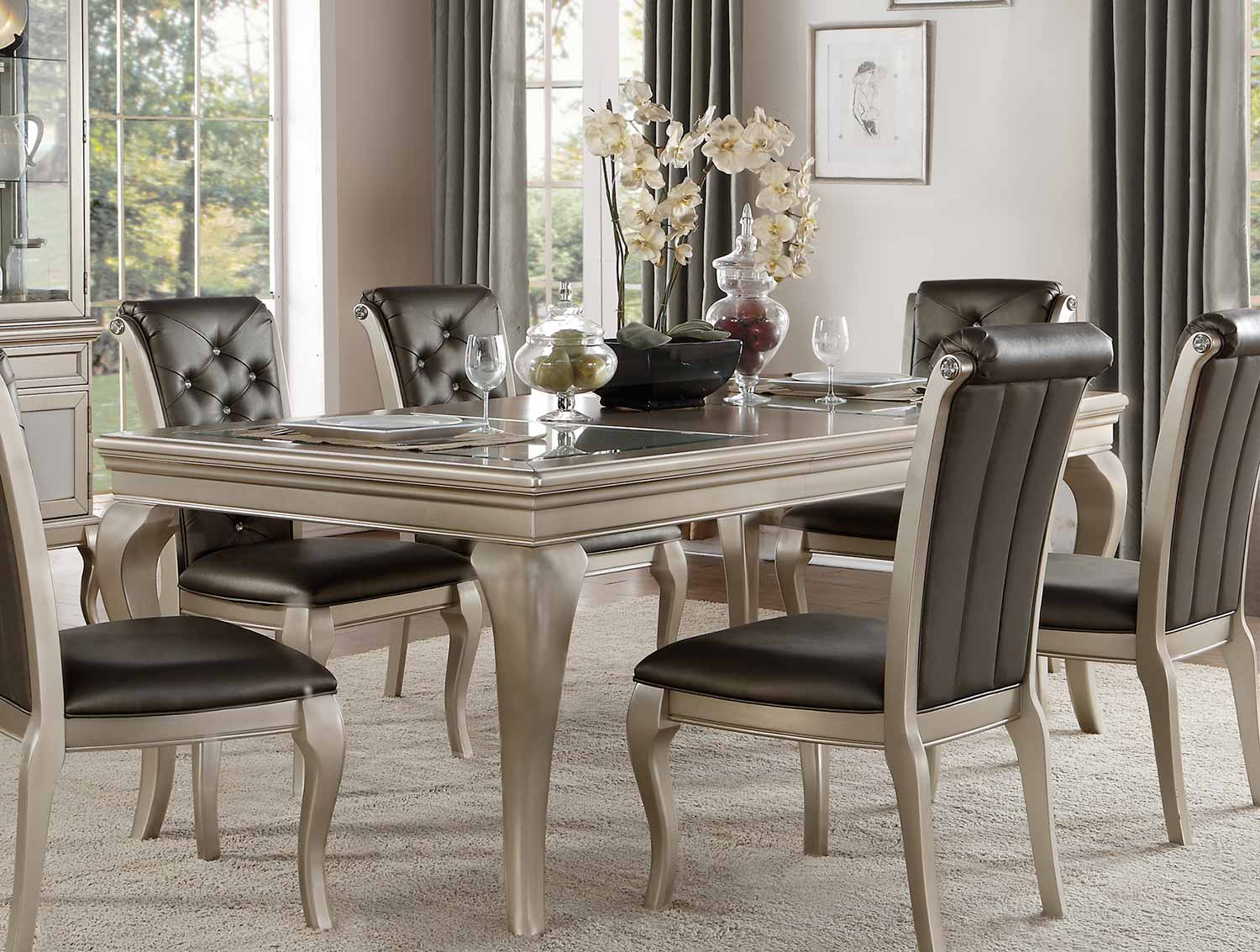 Homelegance Crawford Dining Table with Leaf - Silver