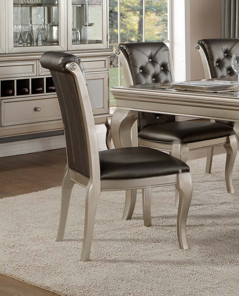 Homelegance Crawford Side Chair - Silver
