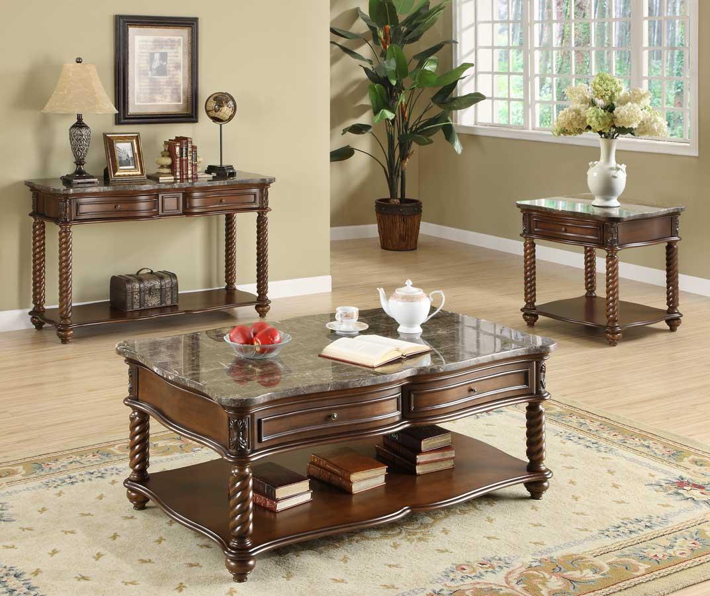 Homelegance Lockwood Occasional Table Set - Brown Mahogany
