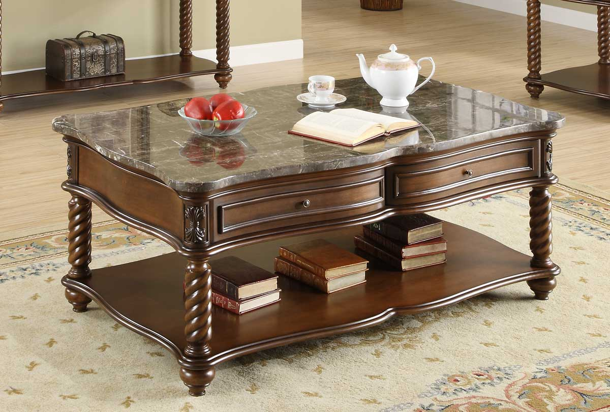 Homelegance Lockwood Cocktail Table - Brown Mahogany