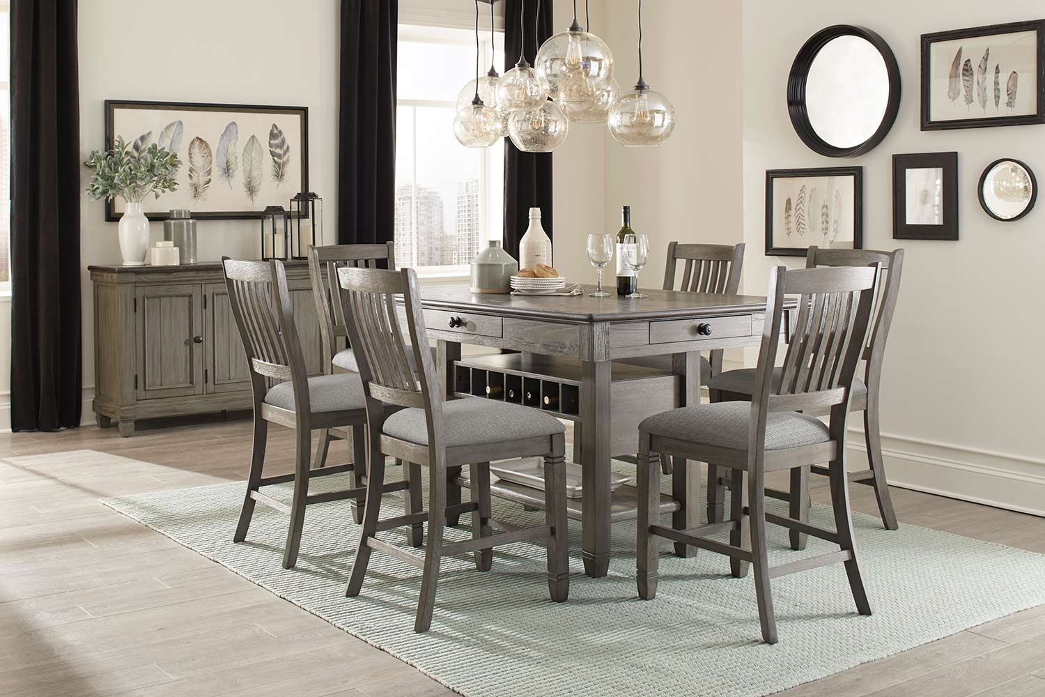 Homelegance Granby Counter Height Dining Set - Antique Gray and Coffee