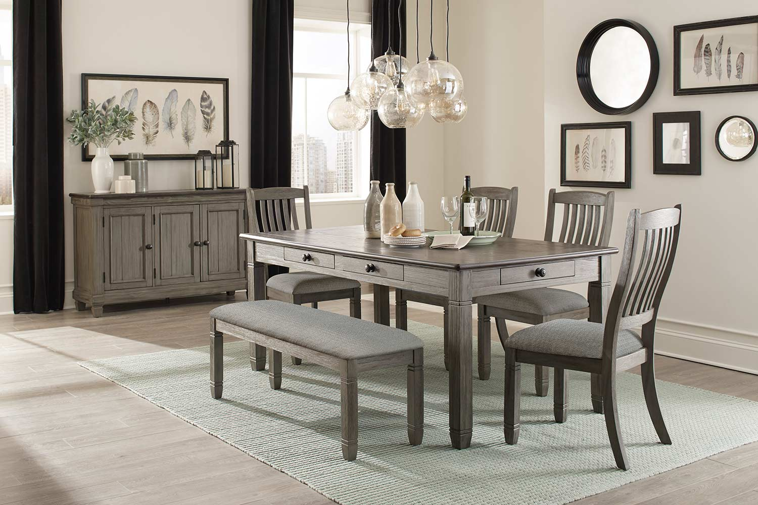 Homelegance Granby Dining Set - Antique Gray and Coffee