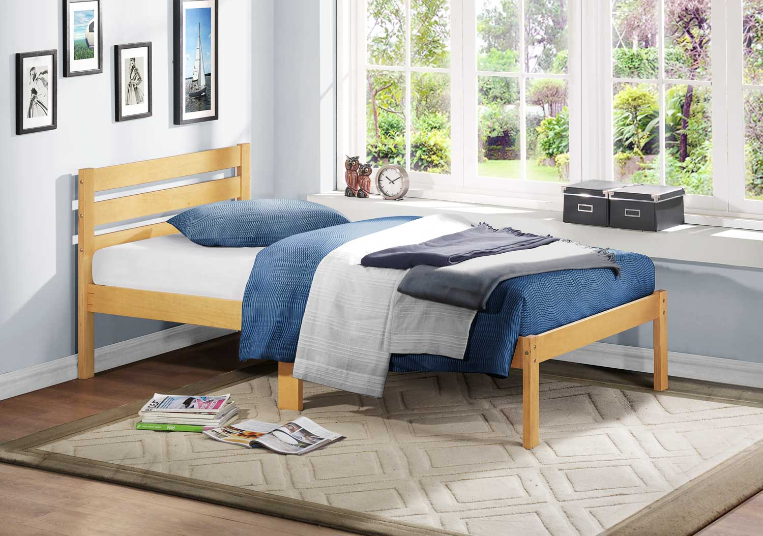 Homelegance Bart Twin Platform Bed - Oak