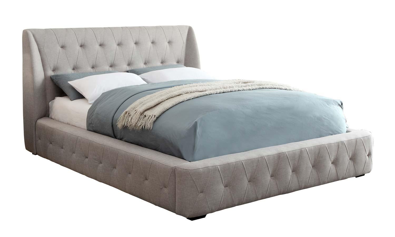 Homelegance Vienna Upholstered Wing Platform Bed - Light Grey